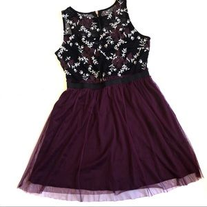 Speechless Plum Embroidered Sheer Tulle Dress